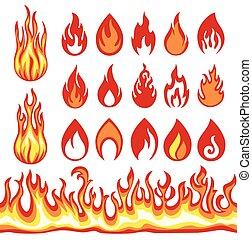 火, 炎, symbols., セット, icons.