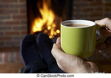 火, 熱い 飲み物, 弛緩, 人