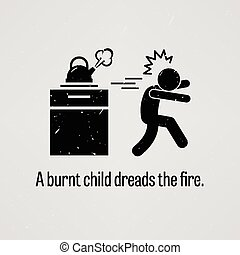 火, 燃やされる, 恐れる, 子供