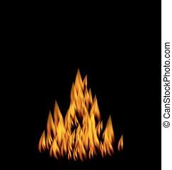 火, 現実的, 炎, 黒い背景