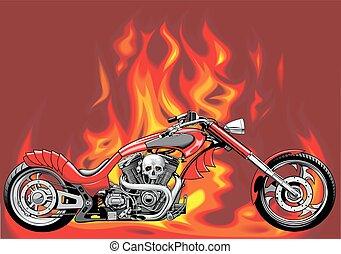 火, 私, モーターバイク, 背景, オリジナル