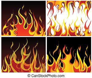 火, 背景, セット