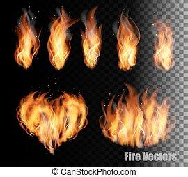 火, 背景,  vectors, 透明