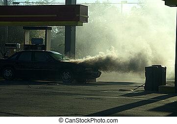 火, 自動車, 煙