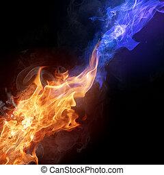 火, 色, 2, 炎