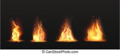 火, 芸術, 炎, セット, トーチ, 現実的, クリップ, 隔離された