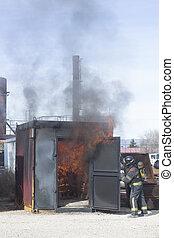 火, 訓練, 駅, ドリル, 消防士