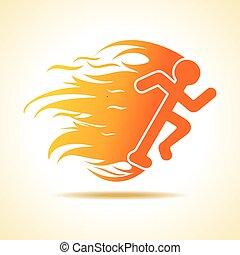 火, 跑, 人, 图标