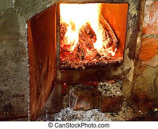 火, 開いた, 暑い, 炉, ドア