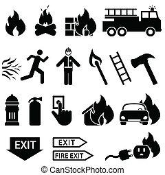 火, 関係した, アイコン, セット