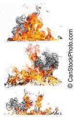 火, 隔離された, コレクション, 高く, 黒い背景, 決断