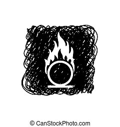 火, -, 隔離された, 例証された, 熱, 背景, アイコン, 極点