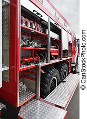 火, 雄ん鶏, そして, ホース, 装備された, 中, 大きい, 赤, 消防車, ∥において∥, 日
