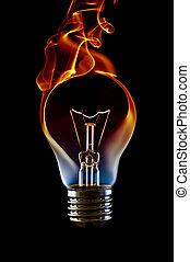 火, 電球, ランプ, 煙