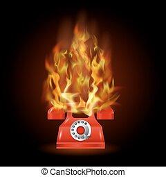 火, 電話, 炎, 赤, 燃焼