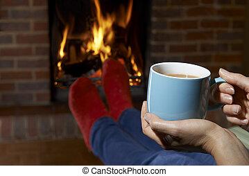 火, 飲みなさい, 暑い, 女性がリラックスする