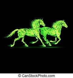 火, 馬, green.