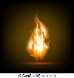 火, 黒い背景, 炎