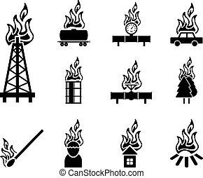 火, 黒, アイコン