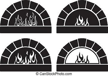 火, 黒, オーブン, ベクトル, 白