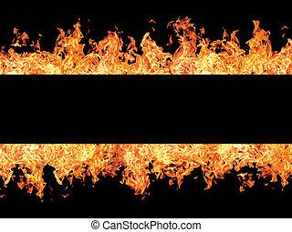 火, 黒, ストライプ, 炎
