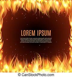 火, 黒, 炎, 背景, 燃焼