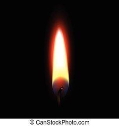 火, 黒, 炎, 隔離された, 背景