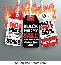 火, 黒, 3, 金曜日, 価格, ステッカー