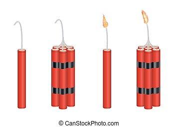 火, 3d, ダイナマイト, パック, 実質, 燃焼