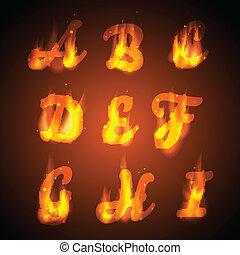 火, alphabet., vector.