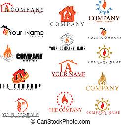 火, collectionn, ベクトル, logotypes