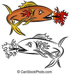 火, fish, 図画
