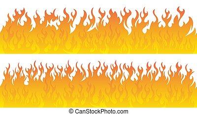 火, set., ベクトル, ライン, 炎