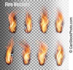 火, set., 炎, vector.