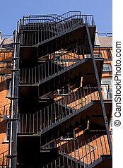 火, staircase., 外部である, 緊急事態