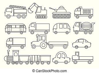 火, transport., 着色, 自動車, ゴミ捨て場, 列車, ミキサー, book., トラクター, コンクリート, セット, ベクトル, バス, トラック, 掘削機, ∥など∥., illustration.