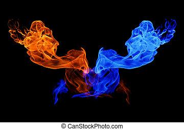 火, yin - yang, 背景, 氷, シンボル