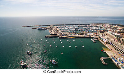 灯台, そして, マリーナ, の, cascais, ポルトガル, 空中写真