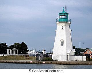 灯台, オンタリオ, 湖の海岸, 港, dalhousie