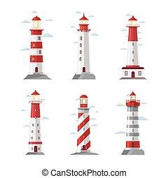 灯台, セット, pharos, icons., 漫画, 標識, ベクトル, イラスト, 海, セキュリティー, ∥あるいは∥