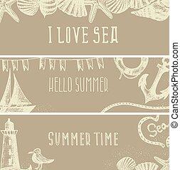 灯台, テンプレート, かもめ, themed, 海, illustration., banners., ∥など∥., 殻, セット, ベクトル, カード, 挨拶, デザイン, boat., 手, 引かれる