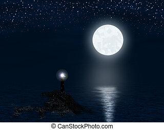 灯台, フルである, 月