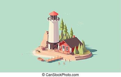 灯台, ベクトル, 低い, poly
