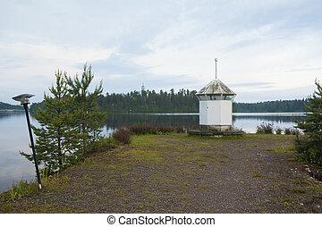 灯台, 上に, ∥, 海岸, の, 湖