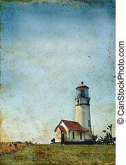 灯台, 上に, a, グランジ, 背景