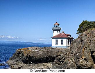 灯台, 上に, puget 音, の, ワシントン州