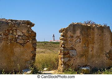 灯台, 古い, ポルトガル, sesimbra, wall., 壊れ目, 光景