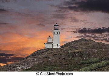 灯台, 島, 国立公園, anacapa, 島, 日没, チャンネル