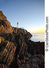 灯台, 崖, 島, ダグラス, 人