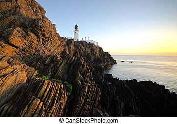 灯台, 崖, 日の出, ダグラス
